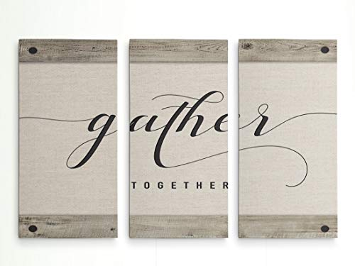 Renditions Gallery-Canvas Prints Wall Art-Gather Together-Gallery Wrapped-Inspirational-Modern-Home Décor-Ready to Hang-3 Pieces-Each Canvas 12in.Wx24in.Hx1.5in.D-Total Size-36 Wx24 Hx1.5 D