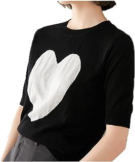 N\P Zomer Grote vrouwen Casual top Fat Ronde hals Big Love Jacquard Breien Korte mouw T-Shirt