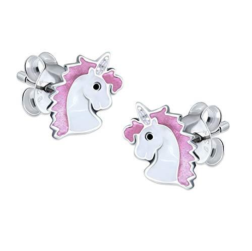 Katy Craig - Par de pendientes de plata de ley, diseño de unicornios, color rosa