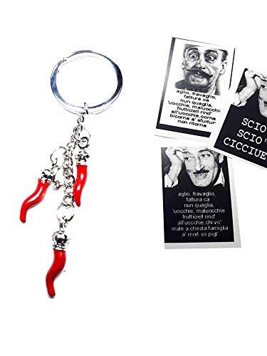 Handgefertigte Schlüsselanhänger mit 3 Hörnchen 2,5 cm aus Metall und Emaille, 1 Karte Toto' Fortuna Sätze a Überraschung, Gobbo Hand Geweih Amulett Horn Charms Lucky Gobbo Scio Neapoletani