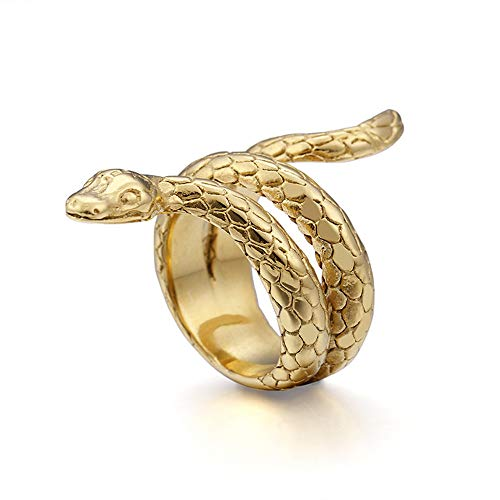 LAMUCH Joyería Acero Inoxidable Oro Serpiente Animal Hombres Anillo A