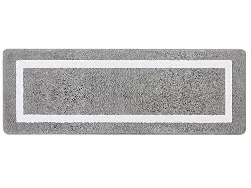Famibay Gris Tapis de Bain Moelleux Microfibre 50x140cm Tapis de Sol de Bain Absorbant Tapis de Salle de Bain Grande Taille Carpette de Douche Anti Glisse Lavable pour Baignoire Toilette Cuisine Salon
