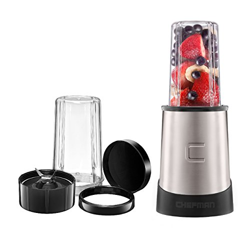 Chefman Personal Ultimate Kitchen Blender, Quick Portable Blending of Shakes, Smoothies, Baby Food & Juice, 2 Travel Cups, Cover & Drinking Rim, 6-Piece Set, Dishwasher-Safe Stainless-Steel Blade