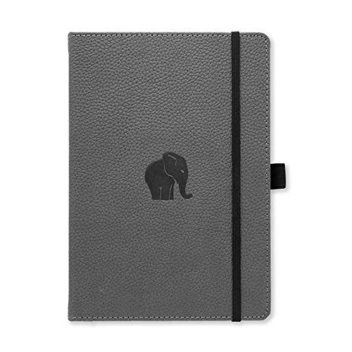 Dingbats Wildlife Dotted Hardcover Notebook - PU Leather, Perforated 100gsm Ink-Proof Paper, Pocket, Elastic Closure, Pen Holder, Bookmark (Gray Elephant, Medium A5+ (6.3 x 8.5))