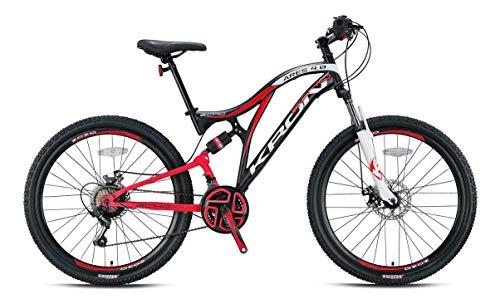 KRON ARES 4.0 Fully Mountainbike 27.5 Zoll | 21 Gang Shimano Kettenschaltung mit Scheibenbremse | 16.5 Zoll Rahmen Vollgefedert MTB Erwachsenen- und Jugendfahrrad | Schwarz Rot