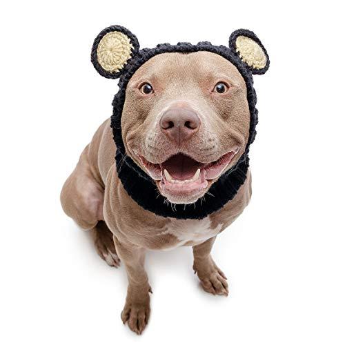 Zoo Snoods Black Bear Dog Costume - No Flap Ear Wrap Hood for Pets (Large)