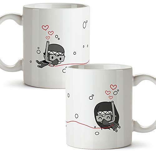 MUGFFINS (Pack 2 tazas) Tazas San Valentín - Buzos - Regalos Originales y Divertidos de Aniversario para Novios, Enamorados, Pareja.