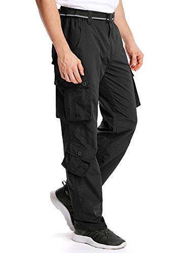 Men's Outdoor Cargo Hiking Pants Lightweight Waterproof Quick Dry Tactical Pants 2506.Black,36
