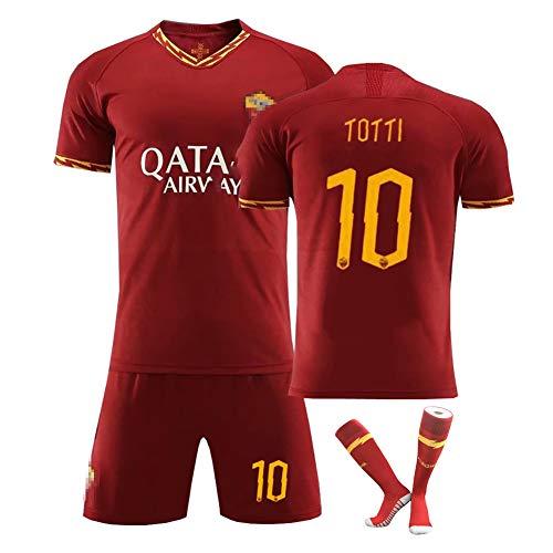 Jerseys de Uniformes de fútbol Totti No. 10 de la Temporada 19-20, Camisetas de fútbol Personalizadas, Ropa Deportiva para Estudiantes de Secundaria, adecuados para Entrenamiento en equipo-Redwine10