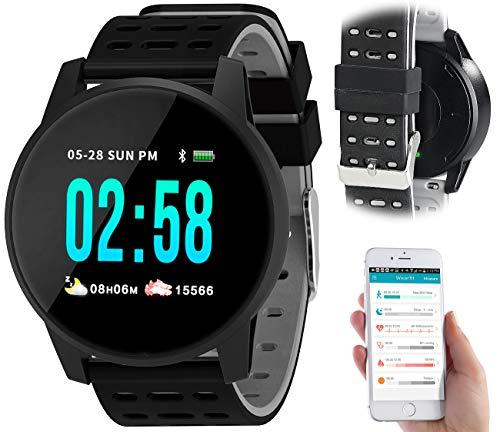 Newgen Medicals Schrittzähler Uhr: Fitness-Uhr mit Herzfrequenz- und Nachrichten-Anzeige, Bluetooth, IP65 (Pulsmessuhren)