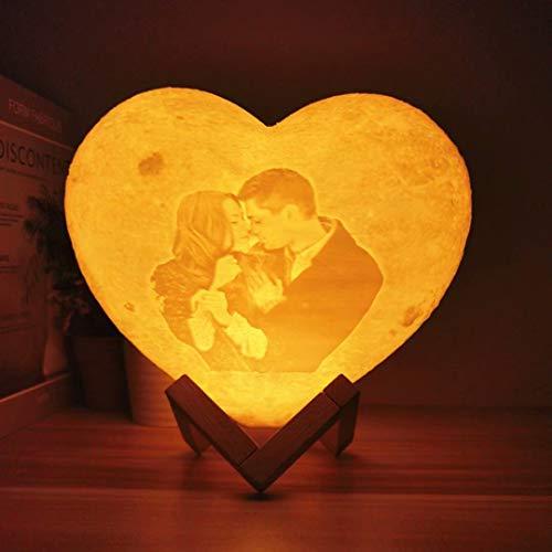 Lampada lunare a forma di cuore personalizzata con foto e testo personalizzati, luce notturna di ricarica USB stampata in 3D, 2 colori / 16 colori personalizzati regali di luce notturna con foto