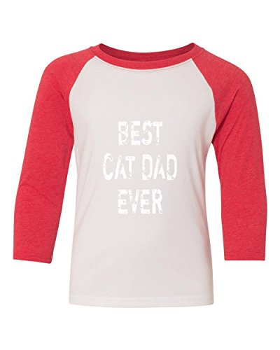 Marky G apparel Boys Best Cat Dad Ever T-Shirt Red/White S