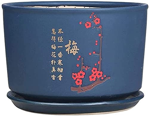 WANIYA1 Extra Large Ceramic Flower Planters,Chinese Style Personalized Succulent Planter Flower Pot with Drain Hole Saucer Bonsai Pots Outdoor Garden Cactus Desktop Plant Pots (Size : 17.2cm)