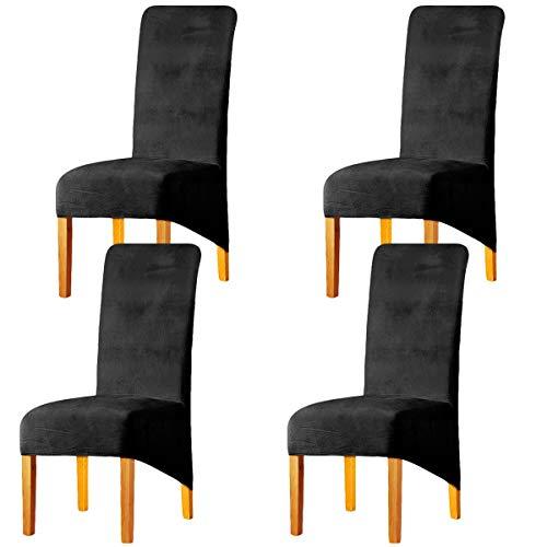LANSHENG Stretchy XL Stuhlbezüge für Esszimmerstühle, Stretch Spandex mit Gummiband Stuhlbezug,Velvet Large Dining Chair Schonbezüge für Restaurant Hotel Party Bankett (Dunkelgrau,4er Set (Groß))