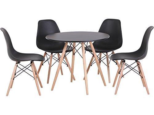 Seconique - Set con tavolo e 4 sedie in legno naturale, colore bianco o nero