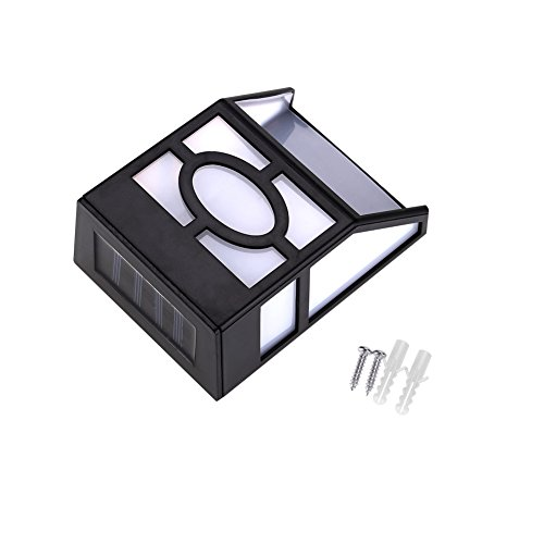Zonne-energie wandmontage 2 LED buiten licht tuinpad landschap hek werf lamp voor decoraties, ideale geschenken Tuin Solar lantaarnpaal licht (wit)