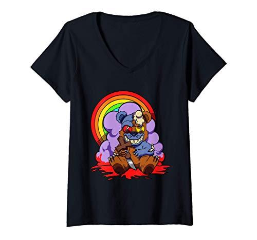 Damen Lustige Hexerei Grusel Voodoo-Puppe Pastell Goth Teddy Bär T-Shirt mit V-Ausschnitt