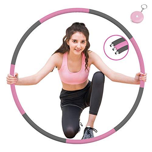 Tig Fox Fitness Reifen, 8 Teiliger Abnehmbarer Hula Reifens Hoop mit Verbesserter Edelstahlkern 1,2 kg für Erwachsene & Kinder zur Gewichtsabnahme und Massage