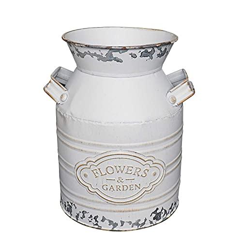 "Soyizom Rustic Galvanized Vase Tin Milk Can Vintage White Jug Metal Shabby Chic Bucket Vase Decorative Jug Pot Farmhouse Decor Flower Pitcher for Country Primitive Water Jug Can Decor Vase—Small,7.9""H"