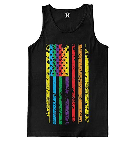 Sixtion Haase Unlimited Mens Big Rainbow Flag - Gay Lesbian Tank Top T-Shirt Small