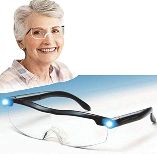 BAONIOU Lupas de Vista con luz LED, lupas LED Big Zoom Vision, Excelentes Gafas para lectores, Mujeres, Hombres, niños