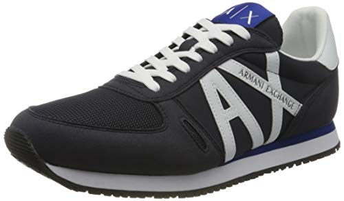 Armani Exchange Retro Running Sneakers, Zapatillas para Hombre, Azul (Navy+Op.White K487), 44 EU