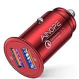 AINOPE シガーソケットusb, [デュアルQC3.0ポート] 36W/6A 超小型 [すべての金属] 高速車の充電器 車usb シガーソケット usb 急速充電 に iPhone 11 Pro Max/XR/X, iPad Air 2/Mini, Note 10 9/Galaxy S10/S9/S8, IQOS/glo 対応 -赤