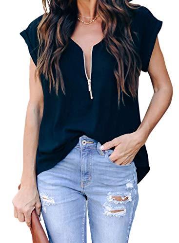 ZKESS Womens Summer Casual Short Sleeve V Neck Blouse Half Zipper Up Tops Tunic Tshirts Tops Black L