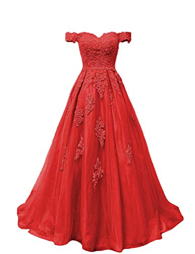 YSMei Women's Off Shoulder Lace Wedding Prom Dress Floor Length Tulle Ball Gown Red 2