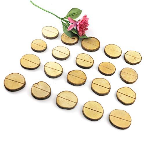 20 Stück rustikaler Holzstumpf Tischkartenhalter Nummernhalter Menüständer Bildclip