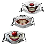 Smiling Clown Teeth Funny Mouth Cloth Face Mask, Washable Adjustable Bandanas Balaclava Dust-Proof Print Reusable Fabric Mask With 6 Pcs Filters for Women Men