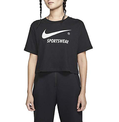 Nike Sportswear Swoosh T-Shirt, Noir/Blanc, S Femme