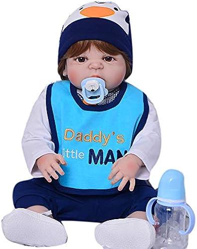 Babypuppen,57 cm New Reborn Dolls Realistische Babyspielzeug Volles Silikon Vinyl Body Bebe 23 Zoll Reborn Bonecas Collectible Boy Geburtstagsgeschenke, braune Augen