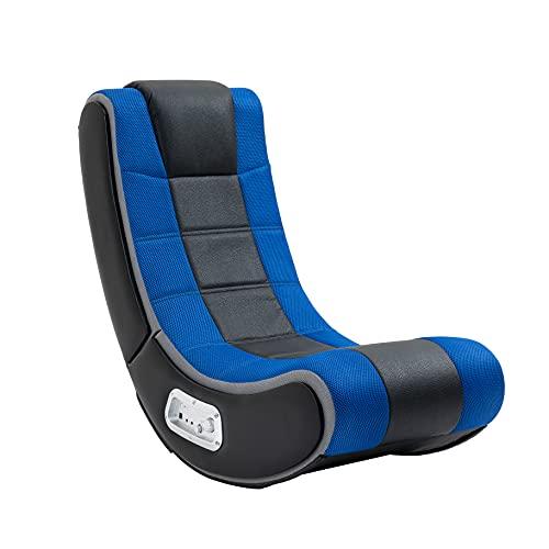 "X Rocker Dash Wireless Floor Rocker Gaming Chair, 27"" x 17"" x 30"", Black/Blue"