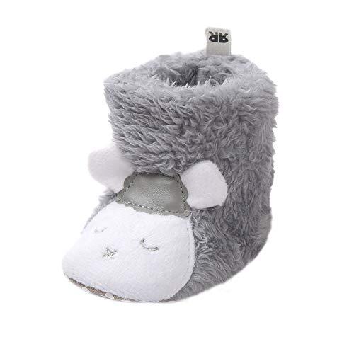 LACOFIA Kleinkinder Baby Jungen Mädchen Weiche Sohle Winter Stiefel Warme Schafe Krabbelschuhe Grau 0-6 Monate
