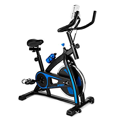 Indoor Folding Exercise Cycling Bike, Ultra-Quiet Stationary Fitness Upright Spinning Bicycle with Tablet Stand and Adjustable Comfortable Cushion Seat, Home Fitness Equipment (Blue) Bikes Exercise