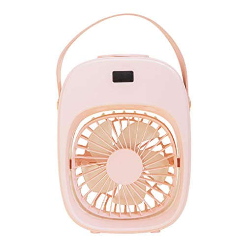 GLASSNOBLE Desktop Fan,Portable Humidifier Misting Fan with 3 Speeds Air Cooler Rechargeable Cordless Pink