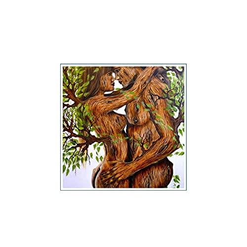 YABINGA Giclee Art Modern Wall Art Picture Print My Woman Tree Parejas Pintura en Lienzo Decoración del hogar Obra de Arte (80x80cm) Sin Marco