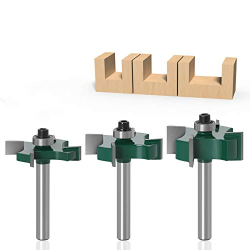 """Globalstore 3 Pcs 1/4 Router Bit Set, 4 Wings Slot Cutter Rabbet Router Bit Set 1/4 Shank, 1/4"""" 3/8"""" 1/2"""" Cutting Height Tongue and Groove Router Bit Set, Milling Cutter with Bearing Woodworking Tools"""