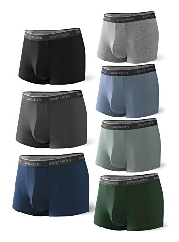 DAVID ARCHY Men's 7 Pack Colorful Underwear Ultra Soft Comfy Breathable Bamboo Rayon Trunks No Fly (L, Multicoloured)