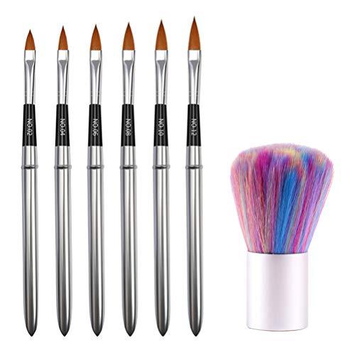 PIXNOR 6Pcs 3D Nail Art Pinsel Set Nail Liner Ombre Pinsel Kristall UV Acryl Nagelbürste Nail Art Tipps Builder Malerei Kit mit Staubpinsel
