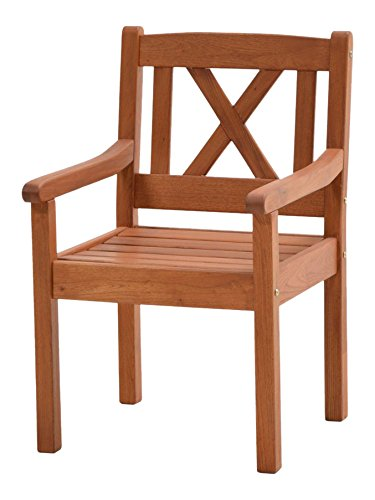 Ploß Landhaussessel Lissabon aus Robinie - Garten-Sessel in Braun - Gartensessel mit Armlehne für Garten & Balkon - Landhaus Massivholzstuhl Sitzbreite 47cm - Terrassen-Stuhl Holz geölt