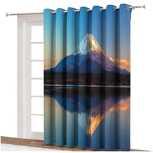Cortinas opacas para puerta de patio con diseño de Fuji y lago Shoji, con impresión de foto de cielo claro y atardecer, parte trasera térmica, panel individual de 254 x 274 cm, para puerta de cristal