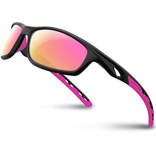 RIVBOS Polarized Sports Sunglasses for Women Men Driving Shades Cycling Baseball Running Rb833 (Black&Pink)