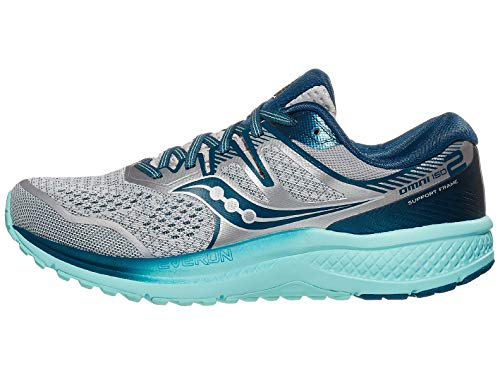 Saucony Women's Omni ISO 2 Running Shoe, Grey/Aqua, 10 M US