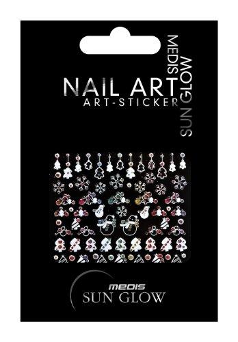 Medis Sun Glow Nail Art-Sticker X-Mas wit/geel/rood/paars/groen/blauw/roze/oranje, motief 4620, 4-pack (4 x 1 stuks)