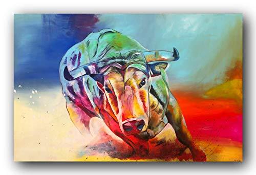 Bild, Gemälde, Sabrina Seck, Stier, Unikat, öl, abstrakt, handmade, original, painting, acryl, modern, XXL, Dekoration, Titel: run free (75 cm x 115 cm)