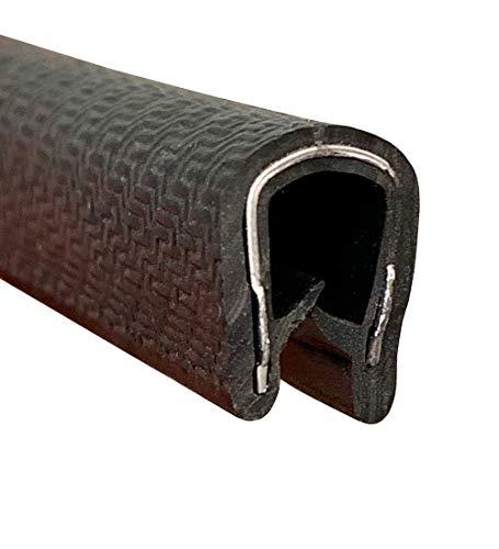 Protector universal 7m puerta coche forma U, protección canto chapa, madera, vidrio, carrocería, cables eléctricos, cuerpo metálico para mayor sujeción, rango espesor 1-4 mm, NEGRO