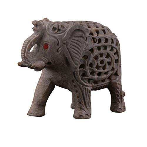 Elefante de mármol decorativo de Crocon añade un toque decorativo a cualquier sala de mesa, restaurante, oficina y maravilloso regalo decorativo para cualquier ocasión, tamaño de 7,6 cm aprox.
