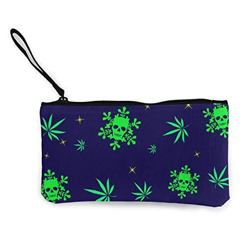 Marihuana - Monedero portátil para mujer con cráneos, bolso de almacenamiento, pequeño monedero con cremalleras, cosmética de viaje
